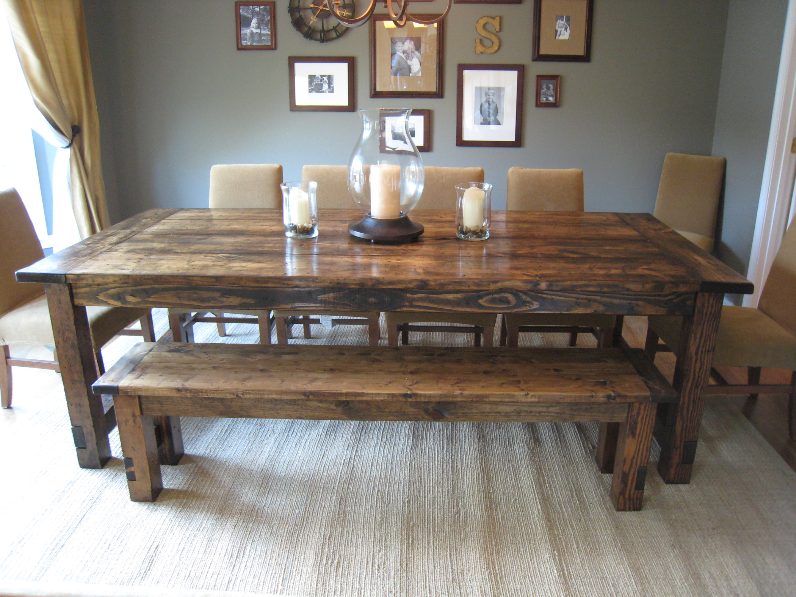 new pictures of the table along with our new slipcovered parson chairs