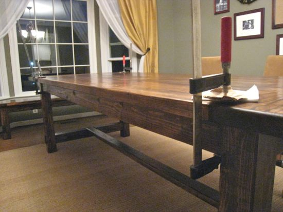 farmhouse table finished product with