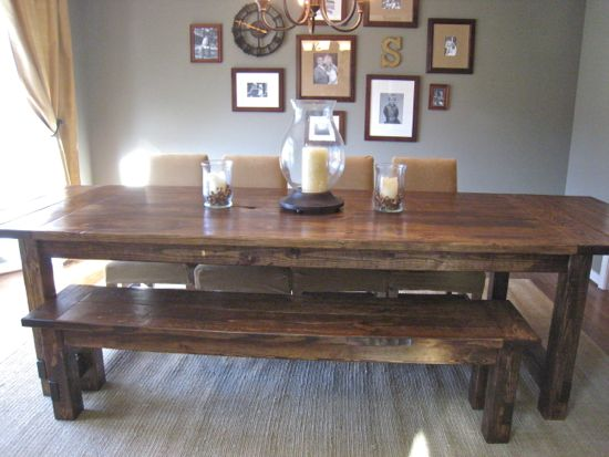Farmhouse Table Finished Product with Extensions. www.tommyandellie.com