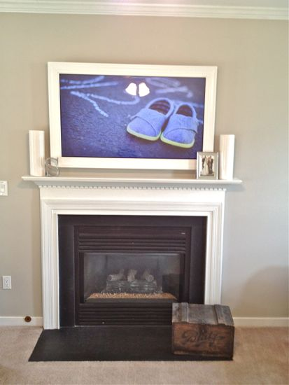 Custom TV Frame for TV Over Fireplace Centered View