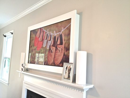Custom TV Frame for TV Over Fireplace Side View