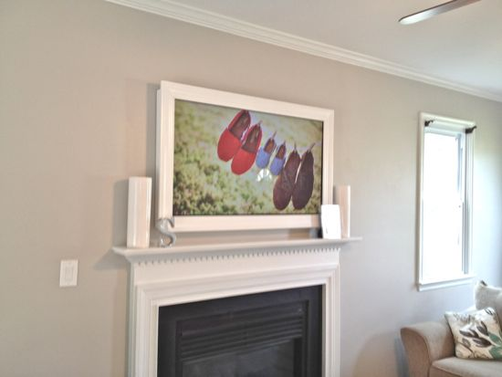 Custom TV Frame for TV Over Fireplace 1