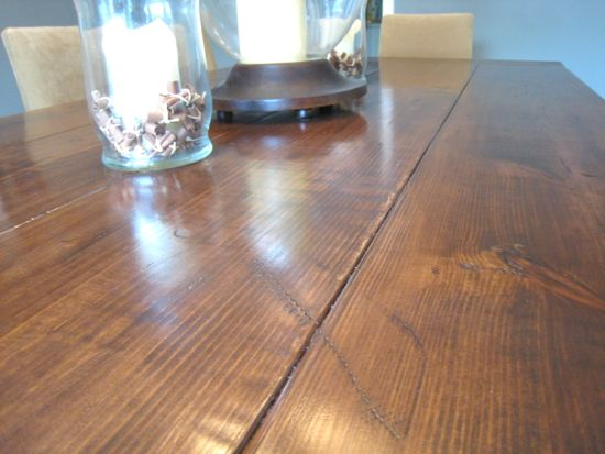 Farmhouse Table Close Up Shot of Distressing