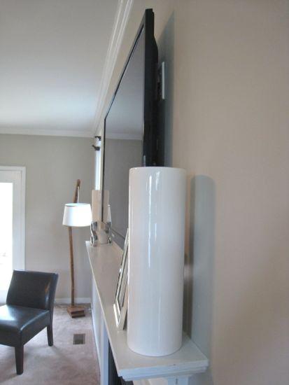 Side Shot of TV Above Fireplace Slim Fit