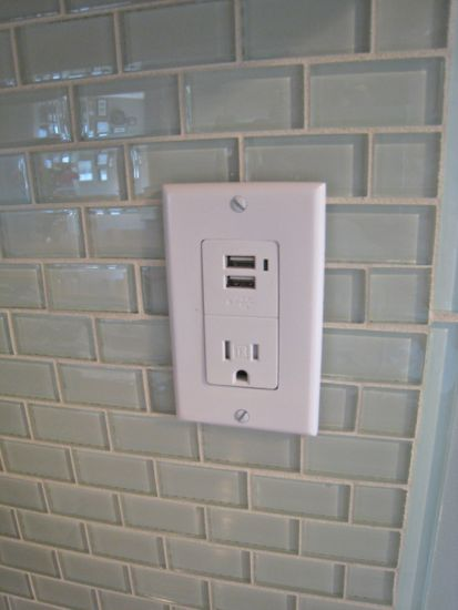 Finished product of installed USB outlet