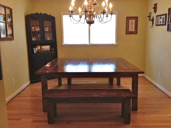 6'x6' Farmhouse Table. 72&quot;x72&quot;. With two matching benches. www.tommyandellie.com