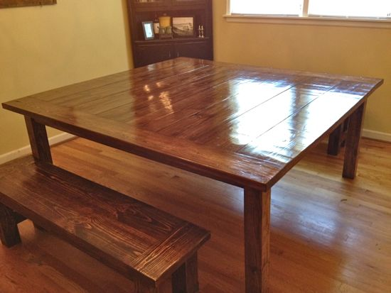 "6'x6' Farmhouse Table. 72""x72"". With two matching benches. www.tommyandellie.com"