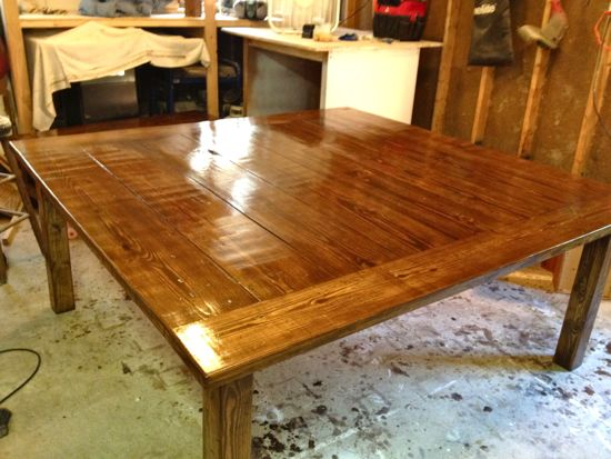 6x6 Table Stained and Sealed. www.tommyandellie.com
