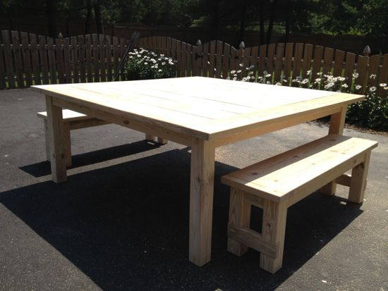 6' x 6' Table with Matching Benches. www.tommyandellie.com