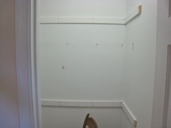 "Closet Renovation. 1x3""s Mounted. www.tommyandellie.com"