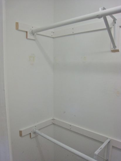 Closet Renovation. Dowels Mounted. www.tommyandellie.com