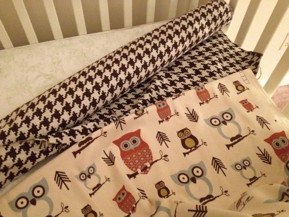 Owl and Houndstooth Fabric for Nursery. www.tommyandellie.com