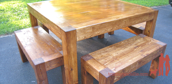 iTable and Benches. Square 4&#039; Table. DIY. www.tommyandellie.com