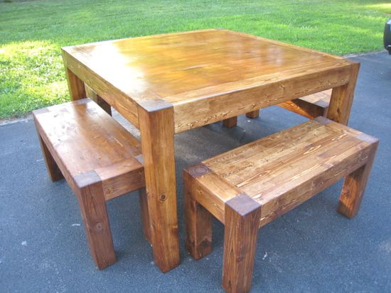 iTable and Benches. Square 4' Table. DIY. www.tommyandellie.com