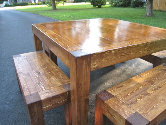 iTable and Benches. Shiny. Square 4' Table. DIY. www.tommyandellie.com