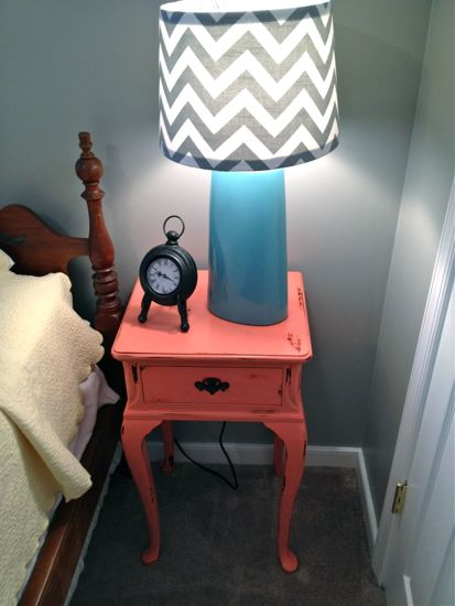 Coral End Table with Chevron Lamp Shade. www.tommyandellie.com