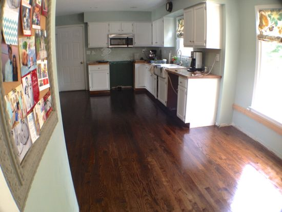 DIY Finished Red Oak Floors. Dark Walnut. www.tommyandellie.com