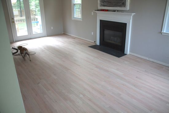 Floors sanded before stain. www.tommyandellie.com