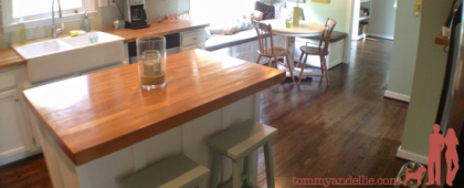 Kitchen Island. Board and Batten with matching window bench. www.tommyandellie.com