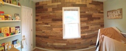 Pallet Wall Nursery. DIY. www.tommyandellie.com