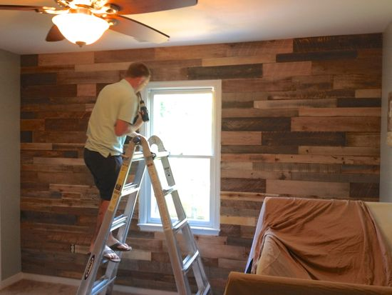Pallet Wall for Boy's Nursery. Little Man Cave. www.tommyandellie.com