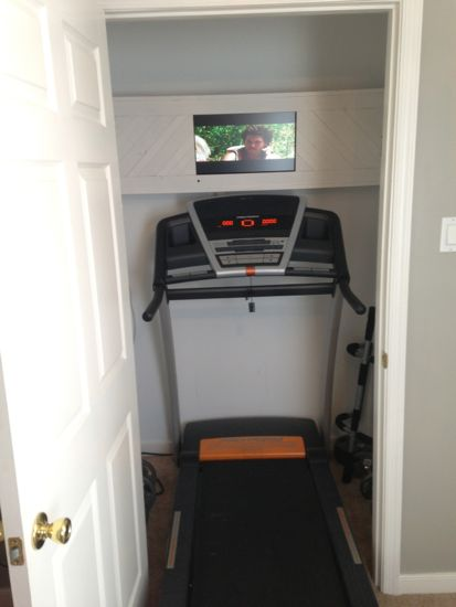 Closet turned into a Treadmill/Work-Out Closet. www.tommyandellie.com