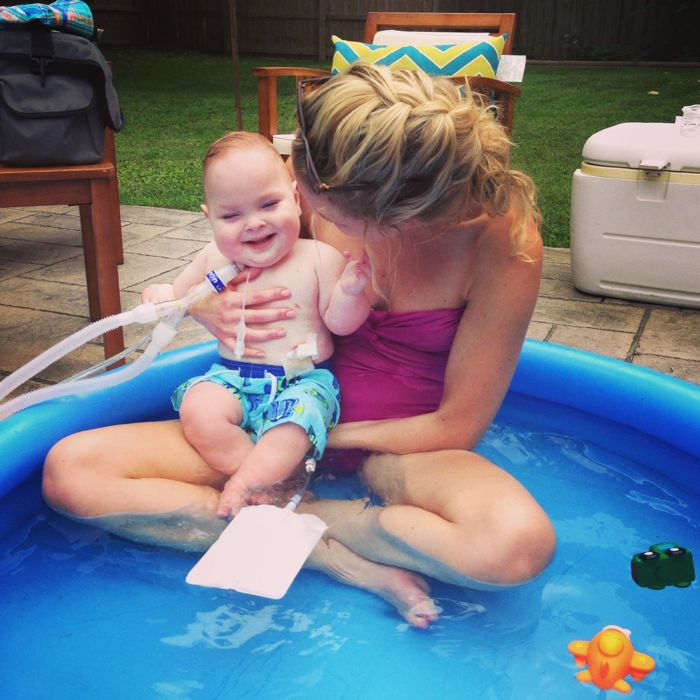 Tucker Sibiga. Baby pool time with mom